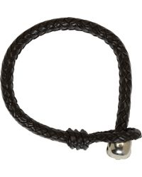 Alexander McQueen Black Braided Leather Skull Bracelet - Lyst
