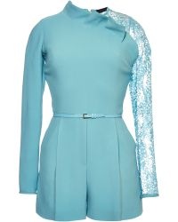 Elie Saab Blue Jumper with Lace Sleeve Insert - Lyst