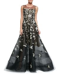 Oscar de la Renta Silver-embroidered Evening Gown - Lyst