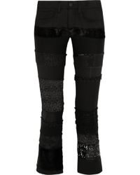 Junya Watanabe Patchwork Cottonblend Twill Skinny Pants - Lyst