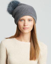 Kyi Kyi Fox Fur Pom-Pom Slouchy Knit Hat - Lyst