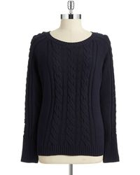 Anne Klein Cable Knit Pullover blue - Lyst
