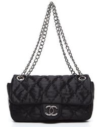 Chanel Pre-Owned  Black Satin Medium Flap Bag - Lyst