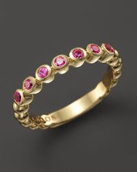 Lagos 18k Gold and Pink Sapphire Stackable Ring - Lyst