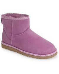 Ugg 'Classic Mini Scallop' Leather Boot purple - Lyst