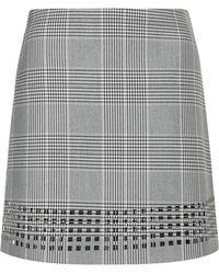 Topshop Premium Check Laser-cut Skirt - Lyst