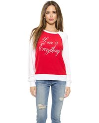 Wildfox Love Is Everything Pullover - Holiday/Clean White - Lyst