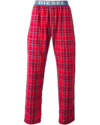 Diesel Check Print Trousers red - Lyst
