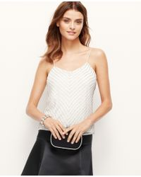Ann Taylor Petite Beaded Strappy Chiffon Top - Lyst