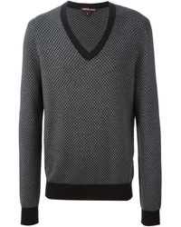 Michael Kors Geometric Pattern V-neck Sweater - Lyst