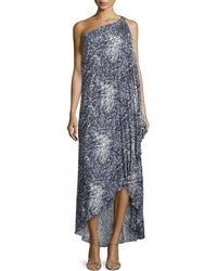 Halston Heritage Printed One-Shoulder Draped Gown - Lyst