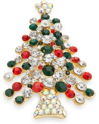 R.j. Graziano - Embellished Christmas Tree Pin - Lyst