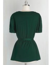 ModCloth | Team Leader Top In Emerald | Lyst