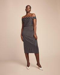 ff30cfcc8af58 Lyst - Christian Siriano Cotton Thin Stripe Off The Shoulder Dress