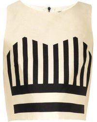 Tibi Escalante Striped Silk Cropped Top - Lyst