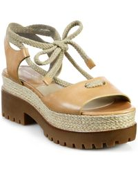 Michael Kors Kirstie Leather And Rope Platform Sandals - Lyst