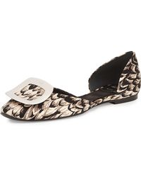 Roger Vivier Ballerine Chips Feather-Print D'Orsay Flats - Lyst