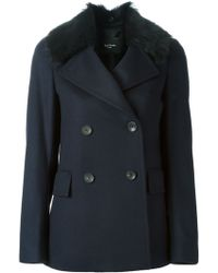 Paul Smith Faux Fur Collared Coat - Lyst