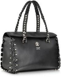 Roberto Cavalli Small Black Leather Satchel W/Metal Detail - Lyst