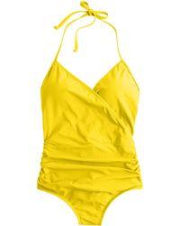 J.Crew Halter Wrap One-Piece Swimsuit yellow - Lyst