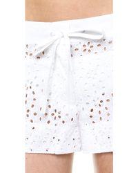 Shoshanna Eyelet Cover Up Shorts White - Lyst