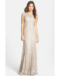 ML Monique Lhuillier Foiled Lace Gown - Lyst