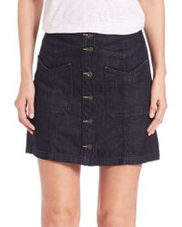 Free People | Come Closer Denim Skirt | Lyst