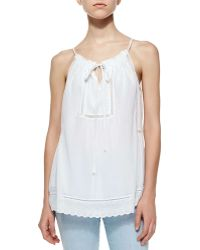 Rebecca Taylor Voile & Lace Drawstring Top - Lyst