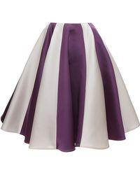 Esme Vie Gardenia White and Lilac Stripe Soleil Midi Skirt - Lyst