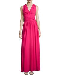 Halston Heritage Cross-Back Jersey Gown - Lyst