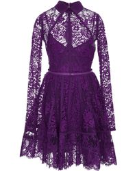 Elie Saab Long Sleeve Lace and Silk Georgette Short Dress - Lyst