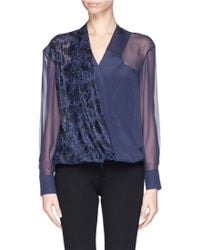 Prabal Gurung Floral Lace Panel Silk Blouse - Lyst