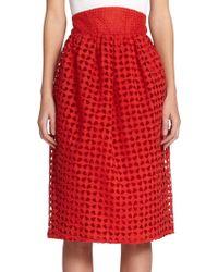 Zac Posen High-Waisted Eyelet Skirt red - Lyst