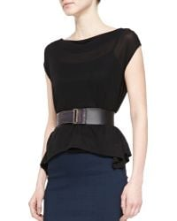 "Donna Karan New York 2"" Leather-Front Plastic Belt - Lyst"