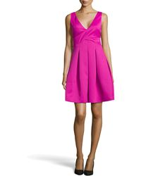Halston Heritage Double-face Satin Fit-and-flare Dress - Lyst
