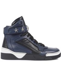 Givenchy - Tyson High Top Leather Trainers With Stars - Lyst