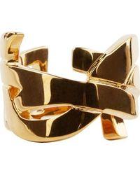 Saint Laurent Gold Signature Monogram Ring - Lyst