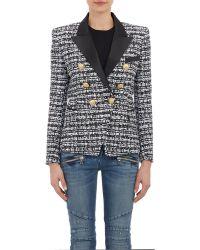 Balmain Tweed Double-Breasted Jacket - Lyst