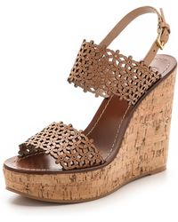 Tory Burch Daisy Perforated Wedge Sandals  - Lyst