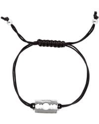 Mateo Bijoux - Razor Blade Bracelet On Black Nylon Cord - Lyst