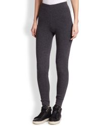 Saks Fifth Avenue Collection Cashmere Ribbed Leggings gray - Lyst