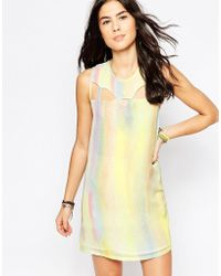 RVCA - Sleeveless Metallic Shift Dress - Lyst