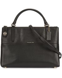 COACH - Borough Black Grained Leather Tote - Lyst