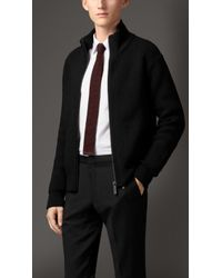 Burberry Zip Front Cardigan with Rabbit Warmer - Lyst
