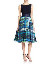 Theia Flared Organza Colorblock Dress - Lyst