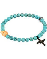 King Baby Studio Turquoise Bead & Conch Shell Skull Bracelet - Lyst