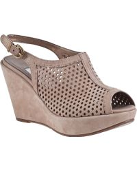 Vaneli For Jildor Emmie Wedge Sandal Taupe Suede - Lyst
