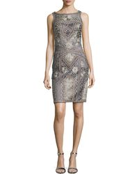 Sue Wong Floral Embroidered Beaded Sheath Dress - Lyst