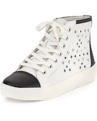 Sam Edelman Branson Embroideredcutout Contrast Sneaker - Lyst