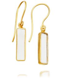 Pippa Small - Tiny Crystal Quartz Rectangle Earrings - Lyst